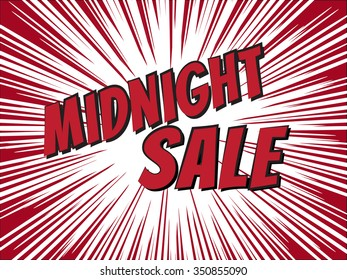 midnight sale, wording in comic speech bubble on burst background, EPS10 Vector Illustration