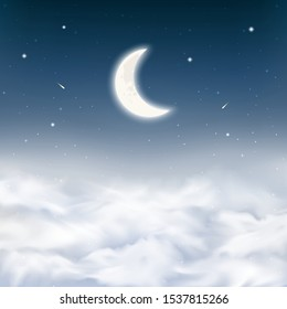 Midnight sky background with crescent moon, stars, comets, realistic dense clouds. Starry night sky above clouds. Peaceful scene night sky background with half moon. Vector Illustration.