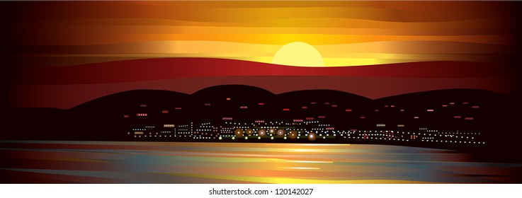 Midnight Sun Landscape with harbor, village, mountains. Vector Image.