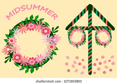 Midsummer celebration icons, vector