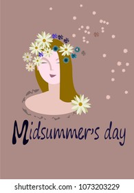 Midsummer is a celebration of summer and light.Midsummer flowers.Lettering.
