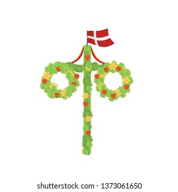 Midsummer floral wreaths, Danish flag, maypole decorated, covered in flowers, leaves. Midsummer traditional symbol in Denmark. Card (Kort) Glad Midsommar. White background. Happy family summer holiday