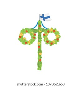 Midsummer floral wreaths, Finnish flag, maypole decorated, covered in flowers, leaves. Midsummer traditional symbol in Finland. Card Kort Glad Midsommar. White background. Happy family summer holiday