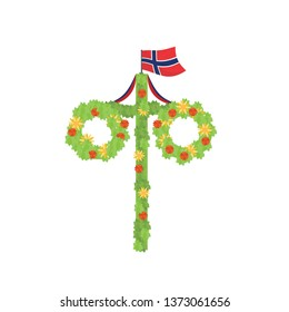 Midsummer floral wreaths, Norwegian flag, maypole decorated, covered in flowers, leaves. Midsummer traditional symbol in Norway. Card Kort Glad Midsommar. White background. Happy family summer holiday