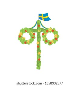 Midsummer floral wreaths, Swedish flag, maypole decorated, covered in flowers, leaves. Midsummer traditional Swedish symbol. Card (Kort) Glad Midsommar. White background. Happy family summer holiday.