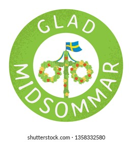 Midsummer floral wreaths, Swedish flag, maypole decorated, covered in flowers and leaves. Midsummer traditional Swedish symbol. Card (Kort) Glad Midsommar. Traditional family summer holiday in Sweden.