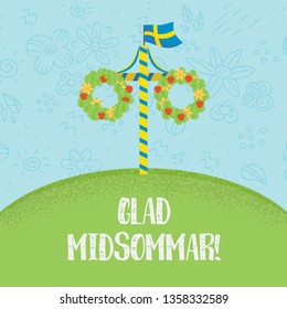 Midsummer floral wreaths, Swedish flag, maypole decorated, covered in flowers and leaves. Midsummer traditional Swedish symbol. Kort Glad Midsommar. Family summer holiday. Summer pattern on background