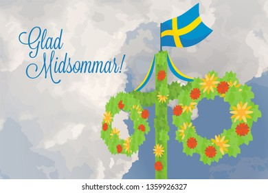 Midsummer floral wreaths, Swedish flag, maypole decorated, covered in flowers and leaves. Midsummer traditional Swedish symbol. Card (Kort) Glad Midsommar. Horizontal card. Happy family summer holiday
