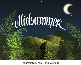 Midsummer lettering. Midsummer holiday background concept.