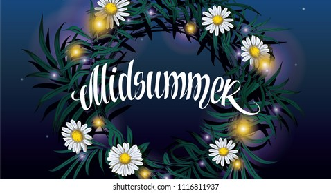 Midsummer lettering. Wreath on the water with reflection of the starry night sky vector illustration. Midsummer holiday background concept.