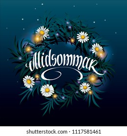 Midsummer lettering. Wreath on the water with reflection of the starry night sky vector illustration. Sveden Midsummer holiday background concept.