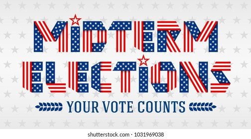 Midterm Elections invitation banner. Text made of folded ribbons with USA flag's stars and stripes. Vector illustration.