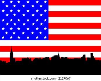 Midtown manhattan New York City skyline against American Flag illustration
