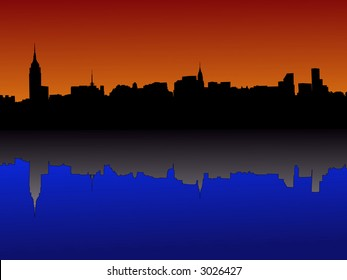 Midtown manhattan New York City skyline at dusk reflected in water