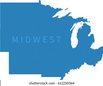 Midwest Map Images Stock Photos Vectors Shutterstock - Map-of-us-midwest-states