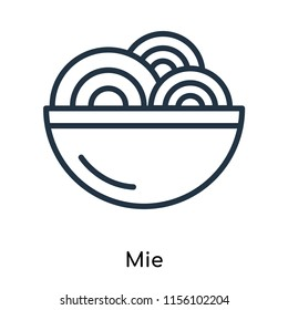 Mie icon vector isolated on white background, Mie transparent sign , thin symbols or lined elements in outline style