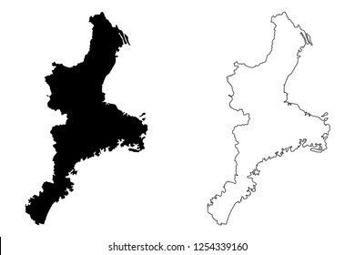 Mie Prefecture (Administrative divisions of Japan, Prefectures of Japan) map vector illustration, scribble sketch Mie map