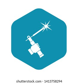 Mig welding torch in hand icon in simple style isolated vector illustration