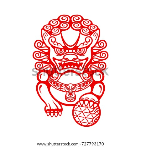 Mighty Chinese entrance guardian Foo dog or Shi shi