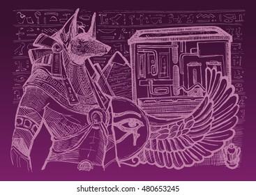 Mighty Great dark Anubis on Egypt background. Hand drawn Egypt  vector illustration.
