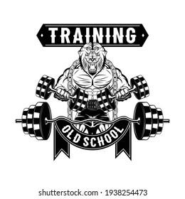 Mighty lion bodybuilder. Predator holding dumbbells. Bodybuilding. Powerlifting. Vector illustration for t shirt print. Hand drawn sport logos, badges, labels, poster.