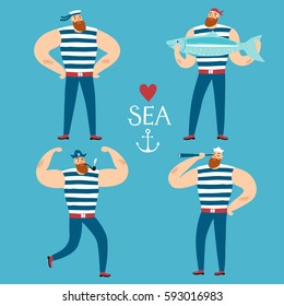 The mighty sailors set. Including decorative title. Cartoon illustration for your design.