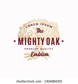 Mighty Tree Abstract Vector Sign, Symbol or Logo Template. Hand Drawn Oak Tree Sketch Sillhouette with Retro Typography. Vintage Emblem. Isolated.