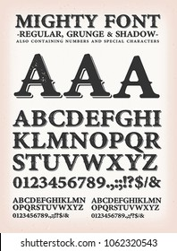 Mighty Western Font Regular, Shadow And Grunge/ Illustration of an alphabet set with design characters, containing regular, grunge and shadow version, numbers and special marks and symbols