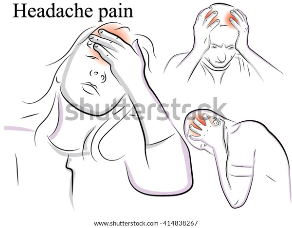 Migraine Headache Pain Drawn By Hand Stock Vector Royalty Free 414838267
