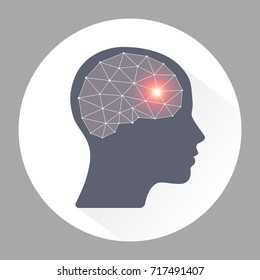 migraine. human headache migraine icon with polygon geometric brain.vector illustration