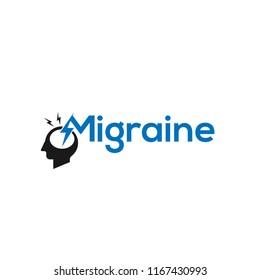 Migraine logo illustration. Headache logo with crack in a head. Pharmaceutical conceptual sign. migraine logo icon concept - vector illustration.