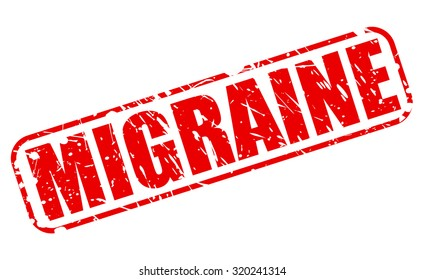 MIGRAINE red stampn text on white