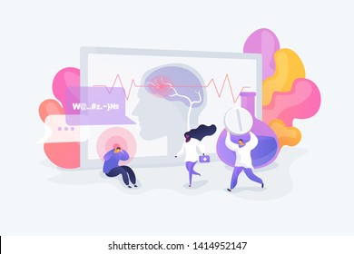 Migraine symptom, mental problem and disorder, brain disease. Man suffering from epilepsy. Stroke, headache, oxygen-deprived brain, first aid concept. Vector isolated concept creative illustration