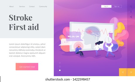 Migraine symptom, mental problem and disorder, brain disease. Man suffering from epilepsy. Stroke, headache, oxygen-deprived brain, first aid concept. Website homepage header landing web page template