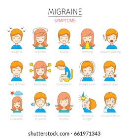 Migraine Symptoms Icons Set, Head, Brain, Internal Organs, Body, Physical, Sickness, Anatomy, Health