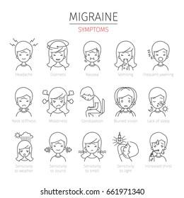 Migraine Symptoms Outline Icons Set, Head, Brain, Internal Organs, Body, Physical, Sickness, Anatomy, Health