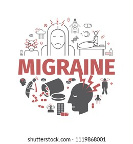 Migraines banner. Migraine symptoms. Headache line icons. Vector set.