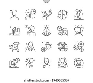 Migraines. Headache. Pain, problem, stressed, unhappy and depressed. Health care, medical and medicine. Pixel Perfect Vector Thin Line Icons. Simple Minimal Pictogram