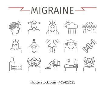 Migraines Infographics. Migraine symptoms. Headache line icons. Vector set.
