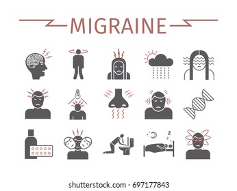 Migraines Infographics. Migraine symptoms. Headache icons Vector set