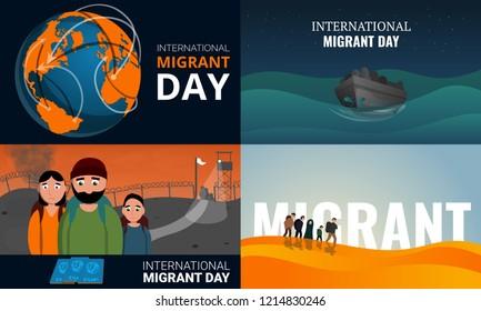Migrant banner set. Cartoon illustration of migrant vector banner set for web design