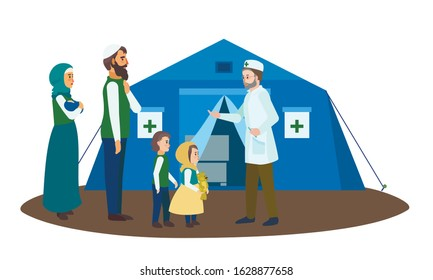 Migrant family doctor tent concept banner. Flat illustration of migrant family doctor tent vector concept banner for web design