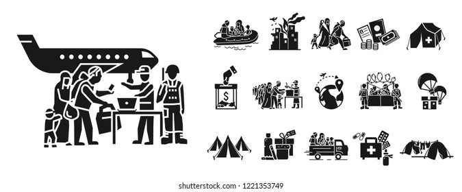 Migrant icon set. Simple set of migrant vector icons for web design on white background