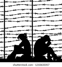 Migrant refugees behind barbed wire, silhouette of a pair of sad people sitting on the ground (man and woman), on a white background, vector