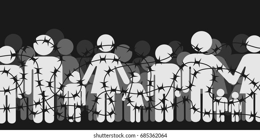 Migrants and refugees are standing behind closed and shut barrier, fence made of barbed wire. Crowd of people - family, mothers, children, men - is forbidden and banned to go. Vector illustration