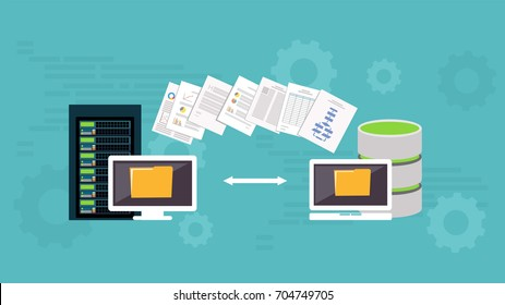 Migration. Backup concept. Copying file. Server. Data Center. Database Synchronize Technology.