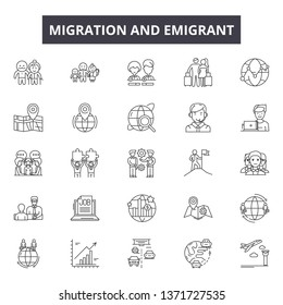 Migration emigrant line icons, signs set, vector. Migration emigrant outline concept, illustration: migration,people,immigration,refugee,border,migrant,travel,emigration,immigrant