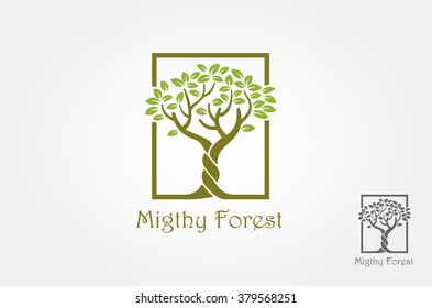 Migthy Forest Logo Template. An illustration of two trunk twisting each other in a helix. Vector illustration nature tree.