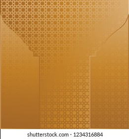 Mihrab design pattern background vector. Design islamic element gradient gold on gold background. Design print for ramadan, eid, islamic event background. Set 3