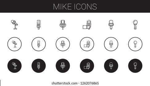 mike icons set. Collection of mike with microphone. Editable and scalable mike icons.